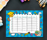 Weekly  Printable, Daily Schedule, Home school Planner, Family Planner -  Letter