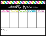 Weekly Priority Planning Page | Time Management