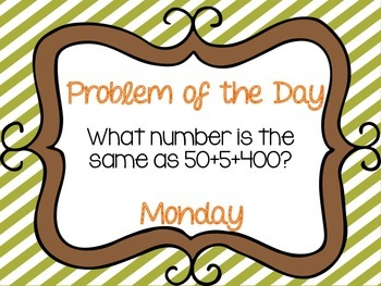 Weekly Problem of the Day and Spiral Review Set #1