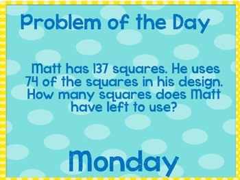 Weekly Problem of the Day and Spiral Review Set # 22