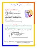 Weekly Progress Report Card Student Academic and Behavior K, 1, 2, 3