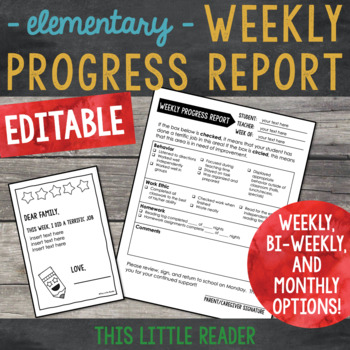Weekly Progress Report Template for Elementary Students