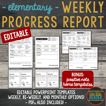 Weekly progress report template for elementary students by for First grade progress report template