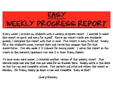 Weekly Progress Report for Elementary Teachers