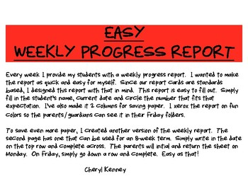 Weekly Progress Report for Elementary Teachers