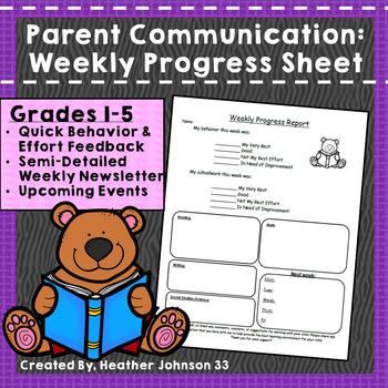 Parent Communication: Weekly Progress Sheet