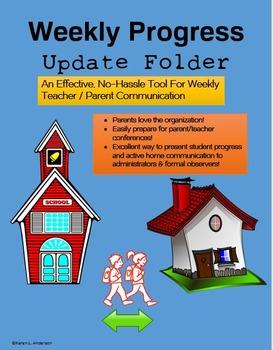 Weekly Progress Update Folder:  (Great For Beginning The School Year)