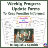 Weekly Progress Report Form in English & Spanish, Printabl