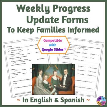 Weekly Progress Report Form in English & Spanish, Print &