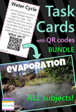 4th Grade Task Cards BUNDLE with QR codes *Self-checking Centers - All subjects*