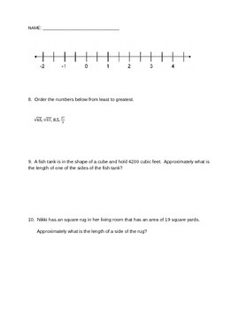 Weekly Quiz Irrational Numbers Square/Cube Roots Common Core