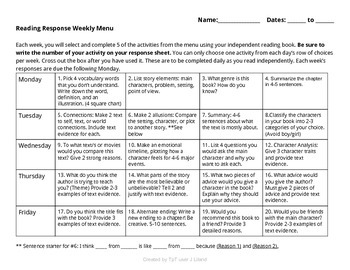 Weekly Reader's Response Menu (Bloom's Taxonomy)