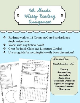 Weekly Reading Assignment Worksheet for Book Clubs/Literature Circles