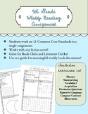 Weekly Reading Assignment Worksheet for Book Clubs/Literat