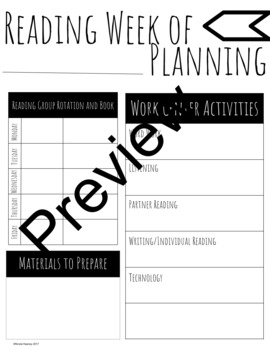 Weekly Reading Centers and Group Planning Sheet