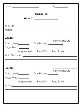 Weekly Reading Comprehension Log