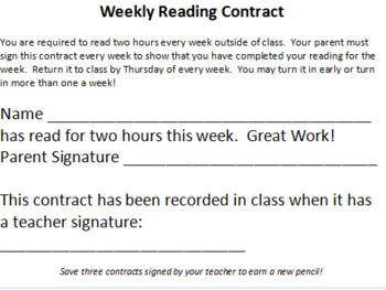 Weekly Reading Contract