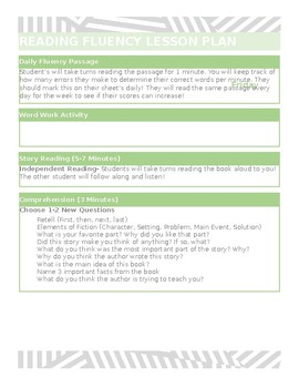 Weekly Reading Fluency Lesson Plan Template Editable Tpt