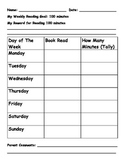 Weekly Reading Goal Chart with parent initials