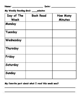 Weekly Reading Goal Chart