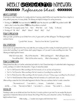 Weekly Reading Homework {Freebie}