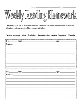 Weekly Reading Homework Graphic Organizer
