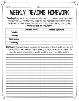 Weekly Reading Homework Log