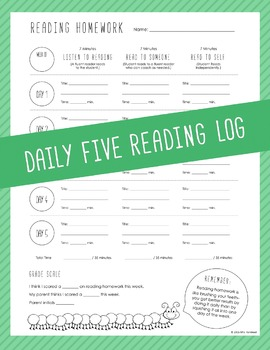 Daily Five Reading Log - Weekly Homework