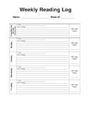 Weekly Reading Homework Log or SSR Log