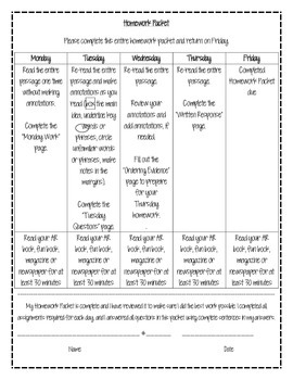 Weekly Reading Homework Packet - 6th Grade