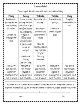 Weekly Reading Homework Packet - 6th Grade