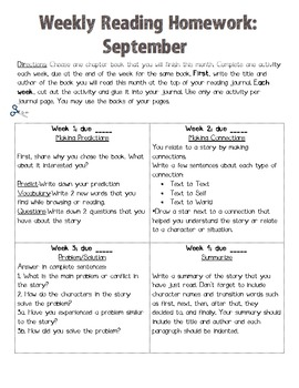 Weekly Reading Homework-September