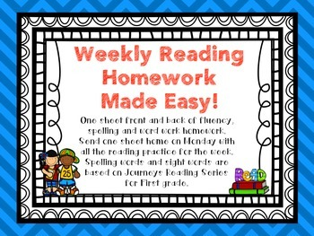 Weekly Reading Homework for First Grade based on Journeys Reading Series