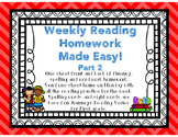 Weekly Reading Homework for First Grade based on Journeys Reading Series Part 2