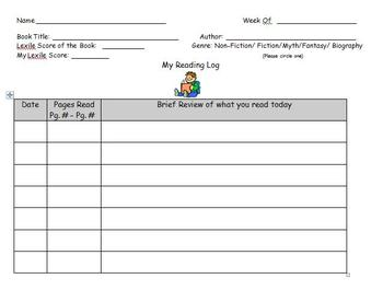 Weekly Reading Log for Reading Centers