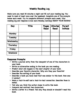 Fifth Grade Weekly Reading Log with Response