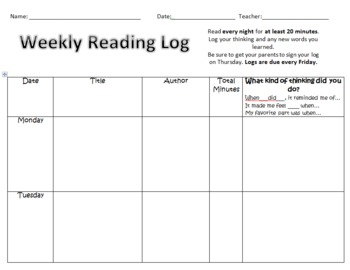 Weekly Reading Log 1st and 2nd Grade