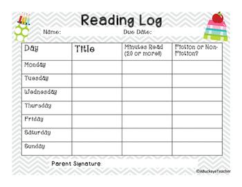 FREEBIE Weekly Reading Log