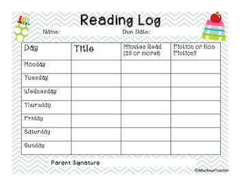 FREEBIE Weekly Reading Log