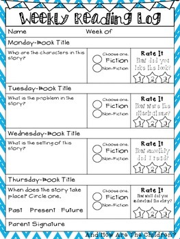 Weekly Reading Log- 2nd Grade Common Core Aligned