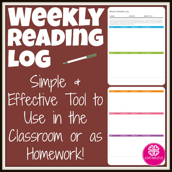 Free Weekly Reading Log for Any Book to be used as Homework or In Class