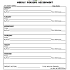 Weekly Reading Log Assignment Worksheets