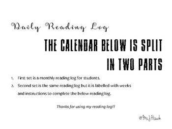 Weekly Reading Log Calendar