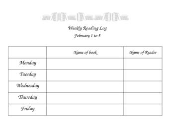 Weekly Reading Log Chart