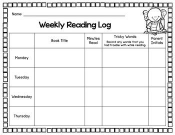 Weekly Reading Log FREE
