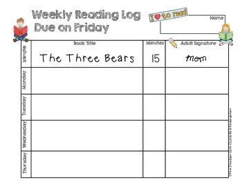 Weekly Reading Log FREEBIE