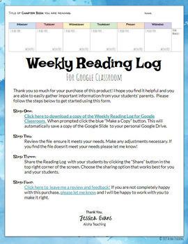 Weekly Reading Log - Google Classroom - Google Slide