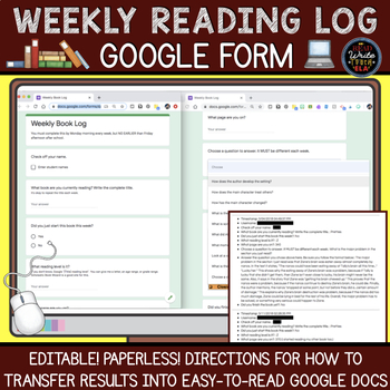 Weekly Reading Log: Google Form (Paperless)