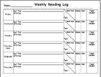 Weekly Reading Log Homework