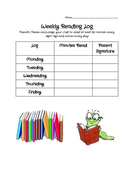 Weekly Reading Log! (K-2)